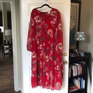 Red 2X long sleeved dress
